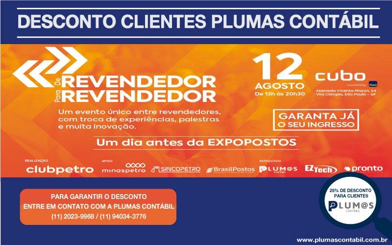 """IMG-20190729-WA0072 - Desconto de 25% aos clientes Plumas Contábil para participar do evento """"De Revendedor"""" Clubpetro"""