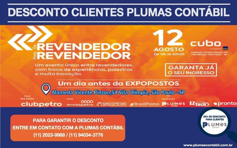 """IMG-20190808-WA0056 - Desconto de 25% aos clientes Plumas Contábil para participar do evento """"De Revendedor para Revendedor""""  Clubpetro."""