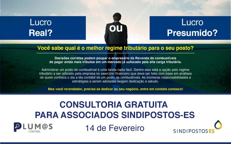 MINIII - Atenção Revendedores de Combustíveis: Plantão gratuito da Plumas Contábil para associados Sindipostos-ES – Sexta-feira 14/02.