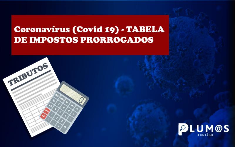 CAPA - Coronavírus (Covid 19) – TABELA DE IMPOSTOS PRORROGADOS