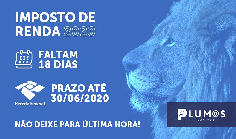 banner IR2020 nv cópia - IRPF – Imposto de Renda Pessoa Fisica – Prazo 30/06/2020 – Faltam 18 dias, não deixe para ultima hora!